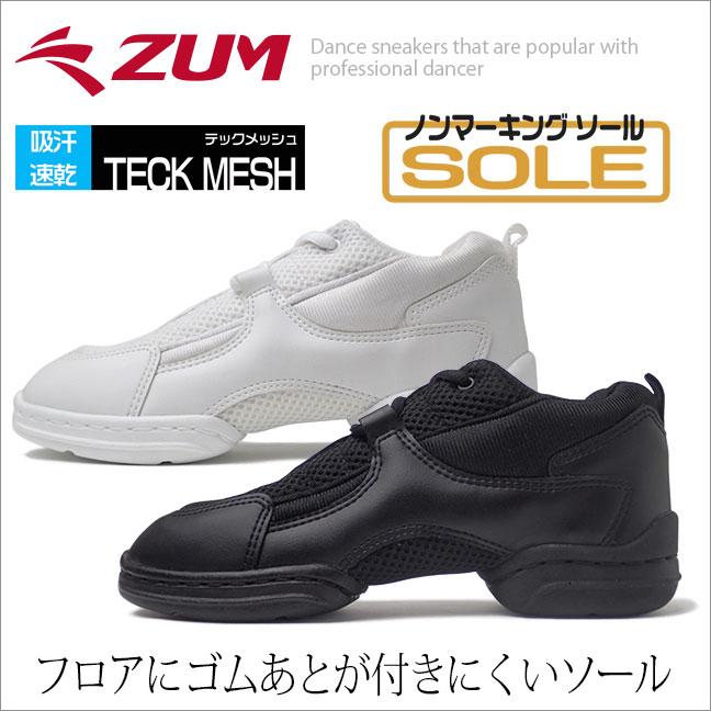 【在庫限り】ダンス スニーカー ダンススニーカー ダンスシューズ 白 黒 チアリーディング チアダンス ジャズシューズ レディース メンズ キッズ ヒップホップ ジャズダンス ズンバ フィットネス ブラック ホワイト ZUM スム ZDS350