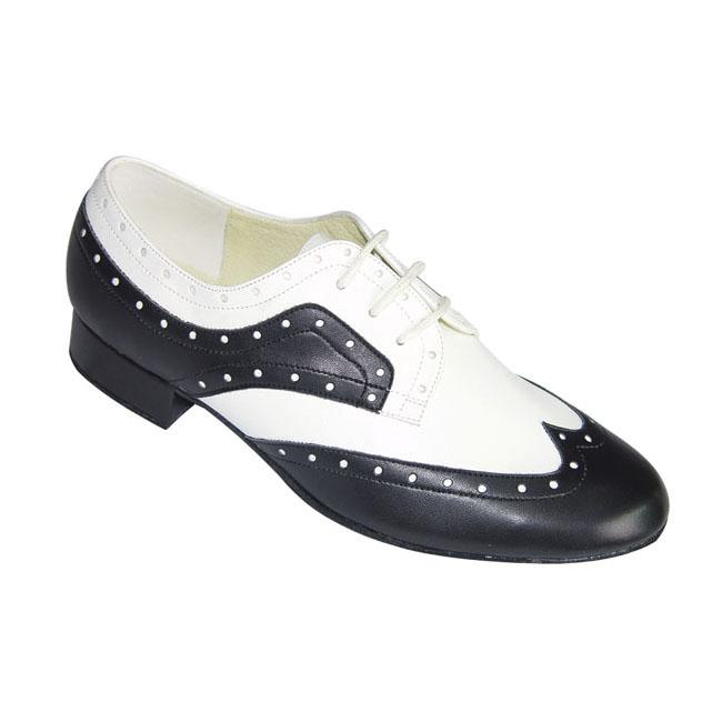 ダンスシューズ・社交ダンスシューズ・メンズ【セミオーダー】男性モダンシューズ・白黒コンビ251201セミオーダー品ですのであなたにぴったりの1足がつくれますよ♪