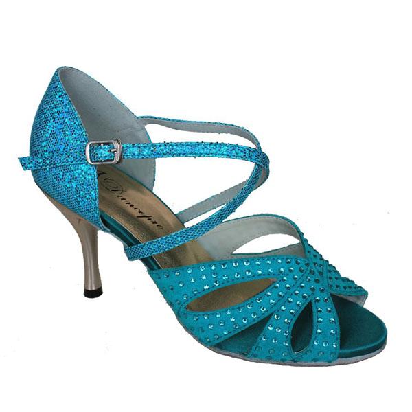 ダンスシューズ・社交ダンスシューズ・レディース【セミオーダー】女性ラテンシューズ・ブルー177603セミオーダー品ですのであなたにぴったりの1足がつくれますよ♪