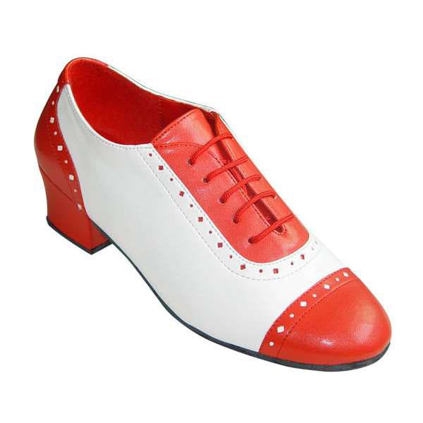 ダンスシューズ・社交ダンスシューズ・レディース【セミオーダー】女性ティーチャーズシューズ・白赤200702セミオーダー品ですのであなたにぴったりの1足がつくれますよ♪