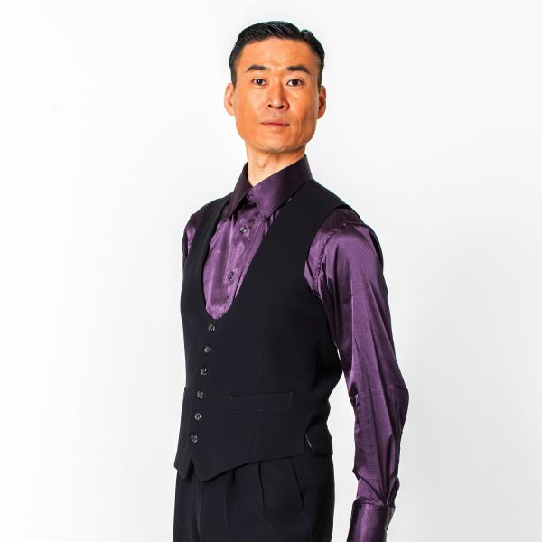 【新入荷】U 字 シングル ベスト T2036 東京トリキン 社交ダンス メンズ 衣装 黒 無地 ベスト