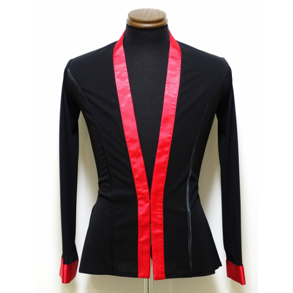 メンズ ラテンシャツジャケット (M) No.4606 パピヨン 社交ダンス ラテン コスチューム ショールカラー 黒 × 赤