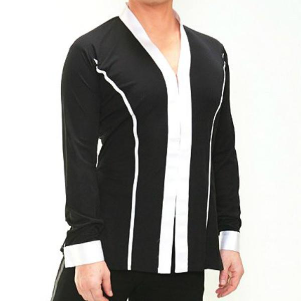 【新入荷】ラテン シャツジャケット (M/L) No.4607 パピヨン 社交ダンス 競技 デモ メンズ ショールカラー 黒 × 白