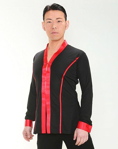 【新入荷】 シャツジャケット (M) No.4607 パピヨン 社交ダンス メンズ ラテン ショールカラー 黒 × 赤