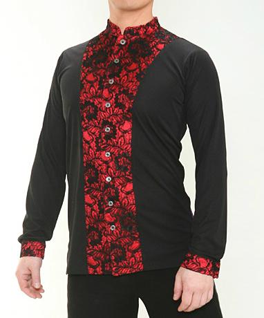 ラテン シャツ ジャケット (L) No.4609 パピヨン 社交ダンス メンズ モダン ラテン 兼用 シャツ マオカラー 黒 × 赤
