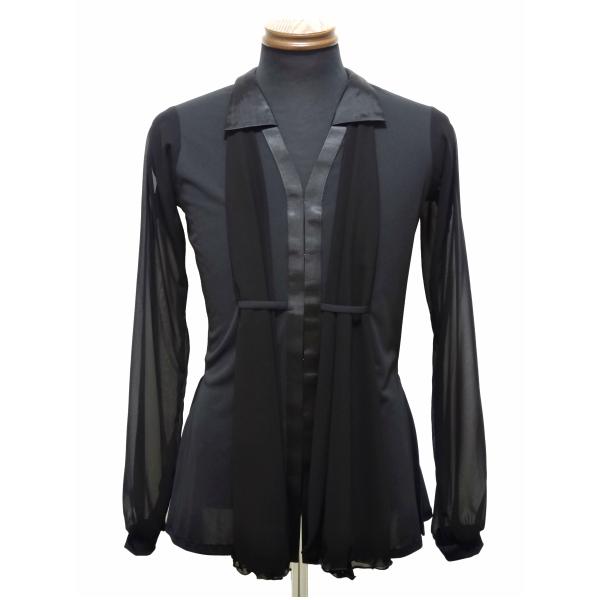 【新入荷】メンズ ラテン ジャケット (M/L) No.4613 パピヨン 社交ダンス ラテン コスチューム ショール が 取り替え られる!! ブラック×ブラック ジョーゼット