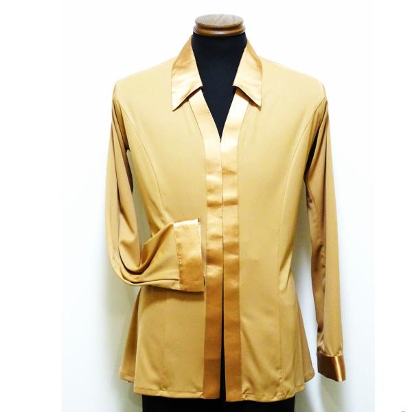 【新入荷】メンズ ラテンシャツ (L) No.4614 パピヨン社交ダンス 男性 パーティー デモ 競技 向け 衣装 シャツ ジャケット サテン 切替 ゴールド