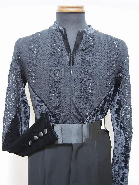 【人気沸騰】 メンズラテンシャツ(M) ブラック レース×クラッシュベロア ブラック No.16M012 白樺ドレス 白樺ドレス, fflower11:ba4df7f1 --- construart30.dominiotemporario.com