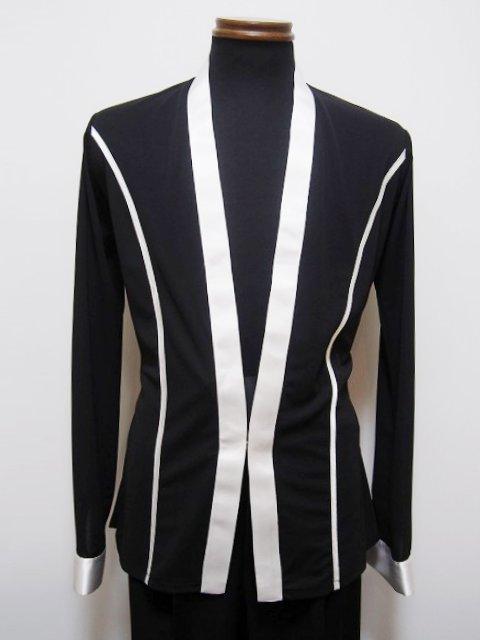 メンズ ラテン シャツ ジャケット (L) No.4606 パピヨン 黒 × 白 ショールカラー 送料無料