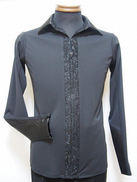 【新入荷】 ラテンシャツジャケット (M) オープンカラー ブラック × ブラック No.4611 パピヨン 社交ダンス 競技 デモ 衣装 レース 切り替え 黒