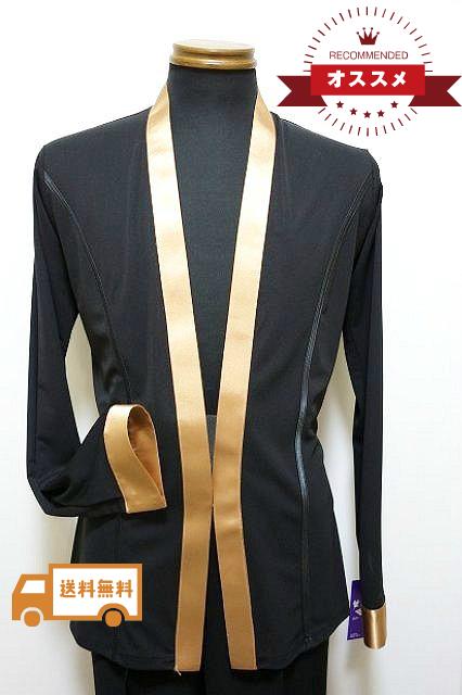 メンズ ラテンシャツジャケット (L)  No.4606 パピヨン 社交ダンス ラテン コスチューム ショールカラー 黒 × モカ
