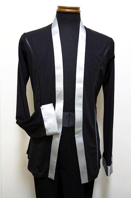ラテン シャツ ジャケット (M/L) No.4606 パピヨン 黒 × シルバーグレー メンズ ラテン 衣装 競技 デモ に