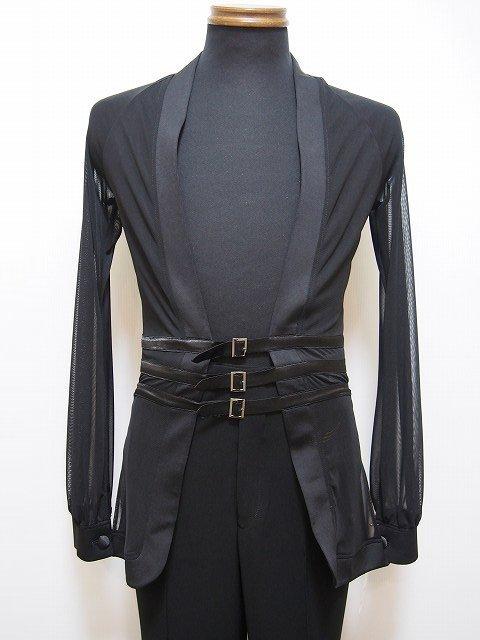 メンズラテンジャケット(L) 3連美錠の個性派スタイル ブラック 白樺ドレス