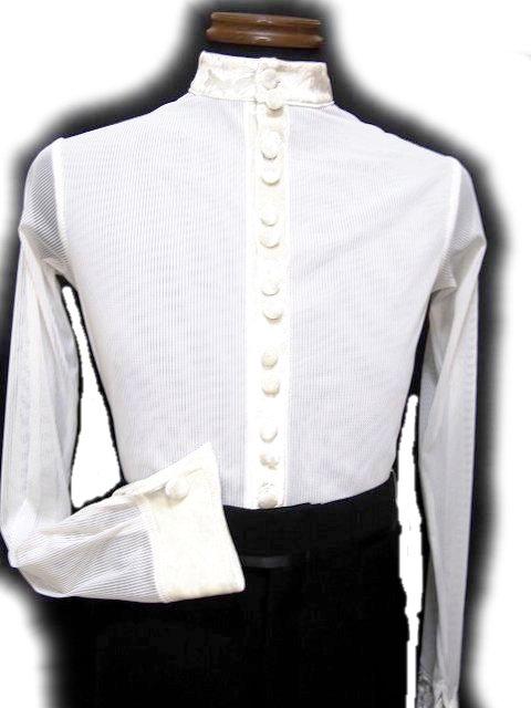 【新入荷】 メンズ ラテンシャツ (M) スタンドネック ベロア 切り替え ホワイト 16M003 白樺ドレス 社交ダンス 男性用 パーティー デモ 競技向け 衣装 白