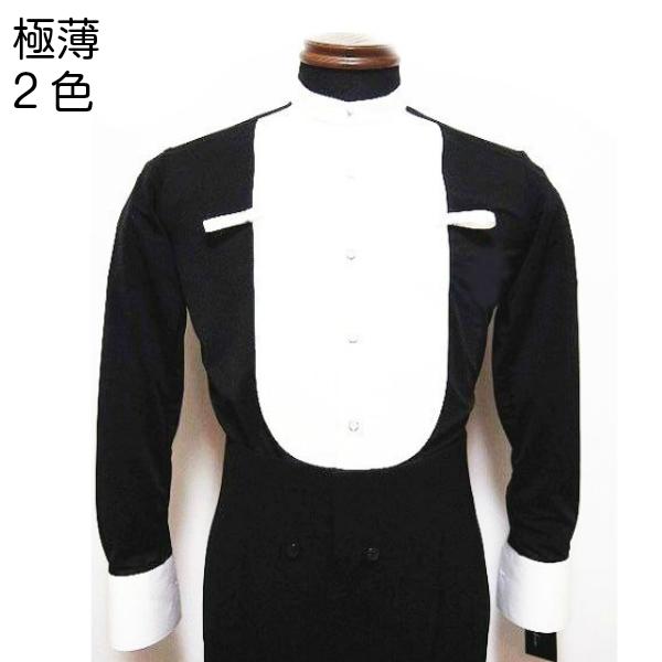 【オーダー品】イカ胸シャツ No.803 東京トリキン 社交ダンス 競技 デモ 燕尾 服 の 中に 着る 超 薄 感 ストレッチ (黒無地) ガーゼを 纏うような 清涼な 着心地