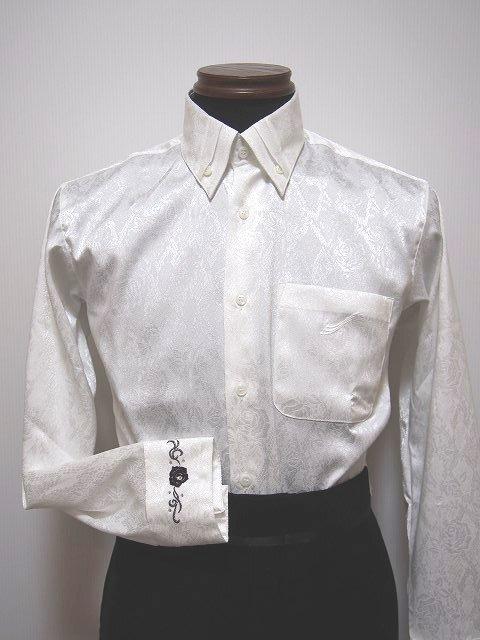 【新入荷】 ドレスアップ パーティーシャツ (M / L) 袖刺繍入り 社交ダンス衣装 ホワイト tt5076 東京トリキン