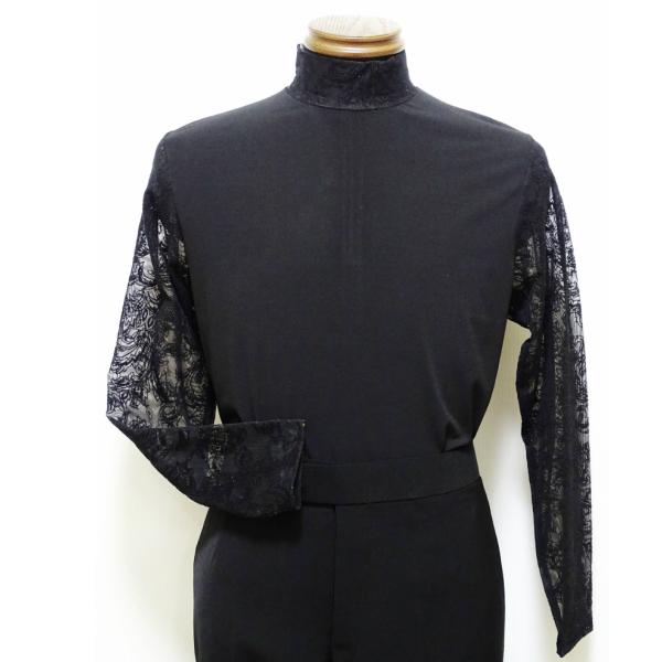 【新入荷】 ジップ アップ シャツ (M) No.551 フジヤマ社交ダンス ラテン 系 衣装 メンズ ハイネック ブラック