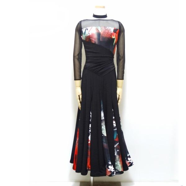 【新入荷】 パーティードレス(M)0031 PAPILLON 社交ダンス パーティー に! プリント 切り替え の しっとり 系 ロング ドレス スタンダード 衣装