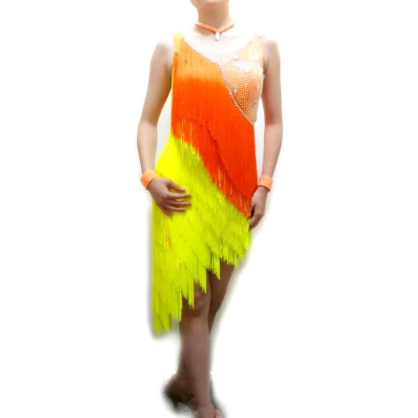 【新入荷】ラテン ドレス (S) No.10945 石付きフリンジラテンドレス オレンジ×イエロー 競技 デモ に おすすめ 正装 白樺ドレス