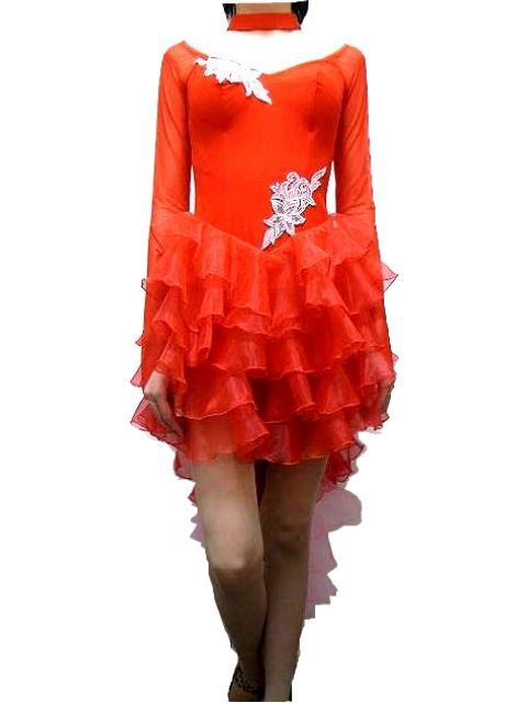 ラテン ドレス (S)g1430 白樺ドレス 社交ダンス 競技 デモ トライアル 衣装 燕尾 風 準 正装 赤 × ピンク
