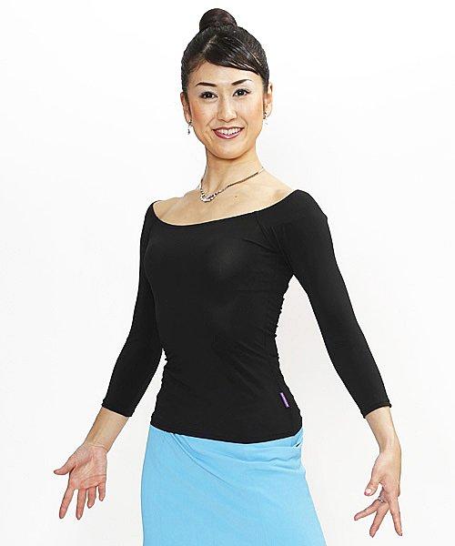 トップス(M・L) No.5051-2 パピヨン 社交ダンス 衣装 レッスン にも 検定 にも 使える シンプル トップス ブラック 七分袖