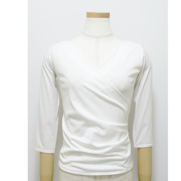 カシュクール トップス (M ) No.5047 パピヨン  社交ダンス レッスン パーティー向け 衣装 カットソー 白 ホワイト 七分袖
