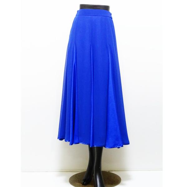 【新入荷】スカート (L) 569 パピヨン サテン 切り替え コバルト ブルー 光沢素材 社交ダンス レッスン パーティー向け 衣装