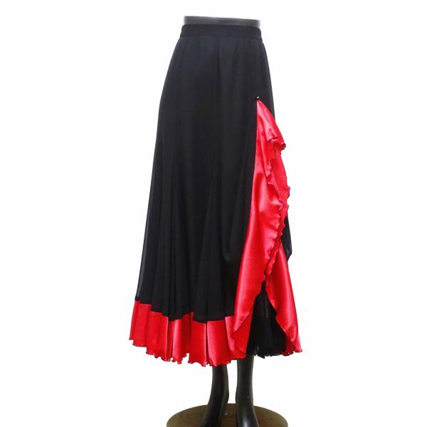 【新入荷】ロング スカート (M) No.675 パピヨン 社交ダンス パソ や タンゴ にも おすすめ!黒×赤