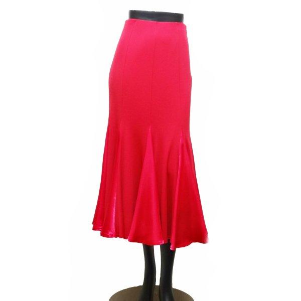 スカート(M)No.716-1 パピヨン マゼンタ 社交ダンス レッスン パーティー に おすすめ 鮮やか な カラー ロング マーメイド サテン 切り替え ピンク