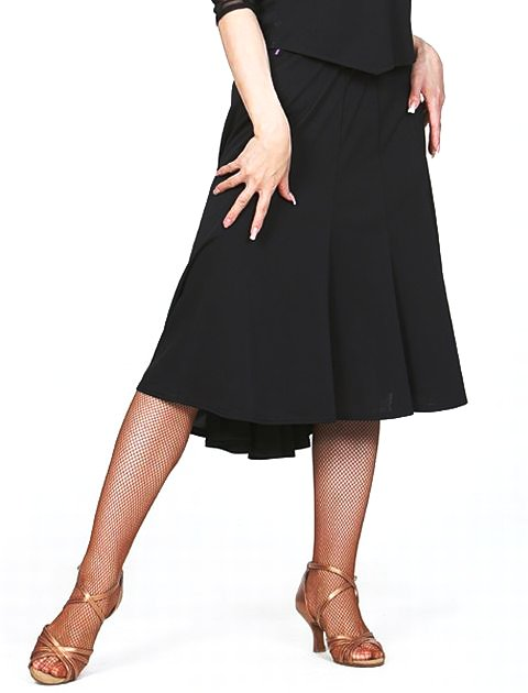 ラテン スカート(M/L)No.620 パピヨン 黒 社交ダンス レッスン パーティー 検定 幅広く使える ミディ丈