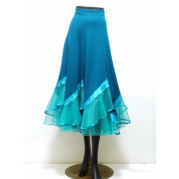 【新入荷】スカート(L)N71 リンド 社交ダンス  パーティー 向き フレアー スカート グリーン