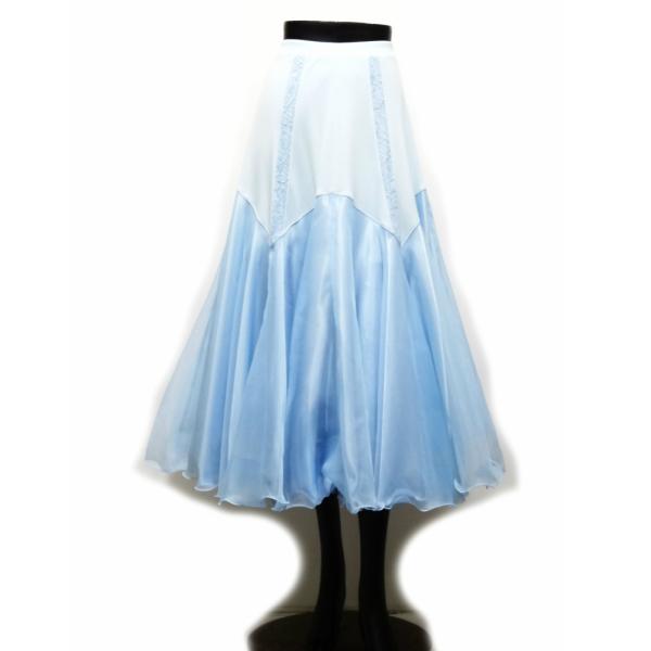 【新入荷】 ロングスカート (M) N89 Lindo 社交ダンス レッスン パーティー向け 衣装 水色 レース切り替え