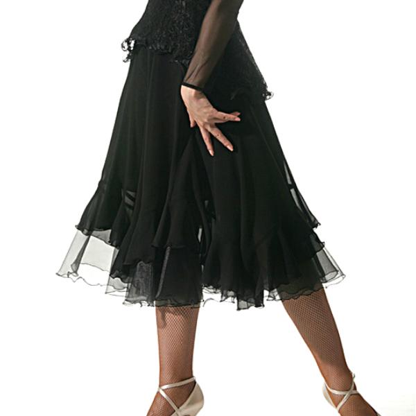 スカート(M・L) No.652 パピヨン 社交ダンス 衣装 パーティー に おすすめ エアリー ミディ ジョーゼット ブラック