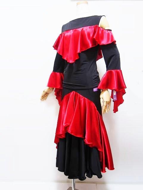 セットアップ (M フリー) 00130011 ミリオン 社交ダンス パーティー向け 上下セット 衣装 黒 赤 サテン切り替えのセットアップ
