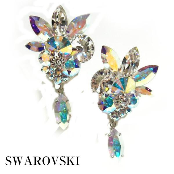 【コンビニ受取対応】イヤリング P-604 PINK社交ダンス 競技 デモ パーティー アクセサリー スワロフスキー 大粒 の オーロラ が 七色 に 輝く! ちょっと 大きめ を 選ぶのが ポイント♪