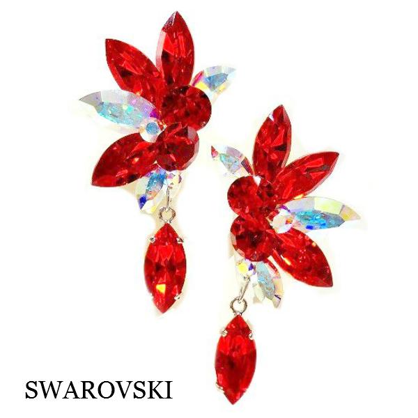 【新入荷】イヤリング P-630 PINK 社交ダンス 競技 デモ に おすすめ の サイズ 感 スワロフスキー ストーン 光り を 浴びて 輝く レッド オーロラ