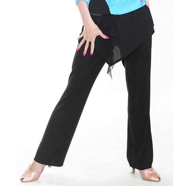 レディース パンツ (M / L) ブラック しなやか素材 No.3535 パピヨン 社交ダンス レッスン パーティー向け 衣装 黒