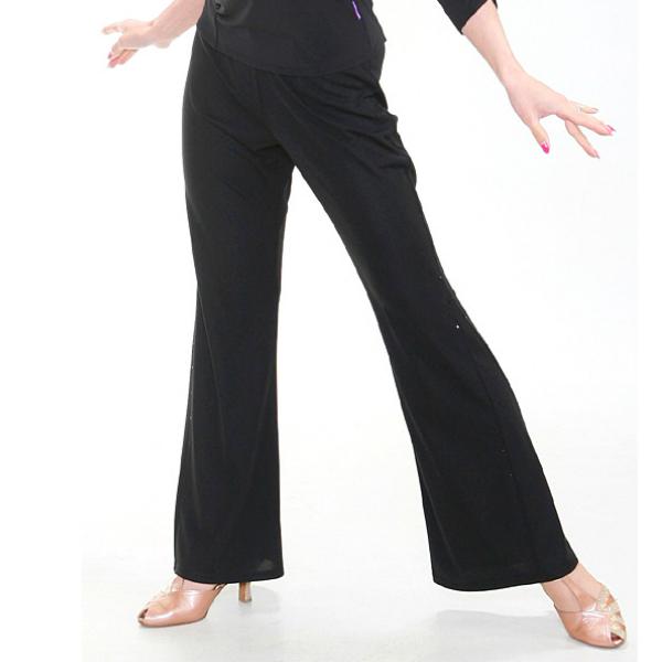 レディース ストレッチ パンツ (M / L) No.3534-1 パピヨン  社交ダンス レッスン パーティー向け 衣装 黒 ブラック しなやか素材