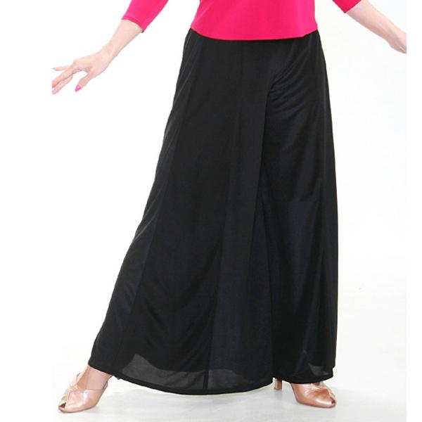 【新入荷】 ドレッシー ワイド パンツ (M) No.3543 パピヨン 社交ダンス パーティー ステージ 向き 光沢 素材 の 華やか ロング スカート 風 黒
