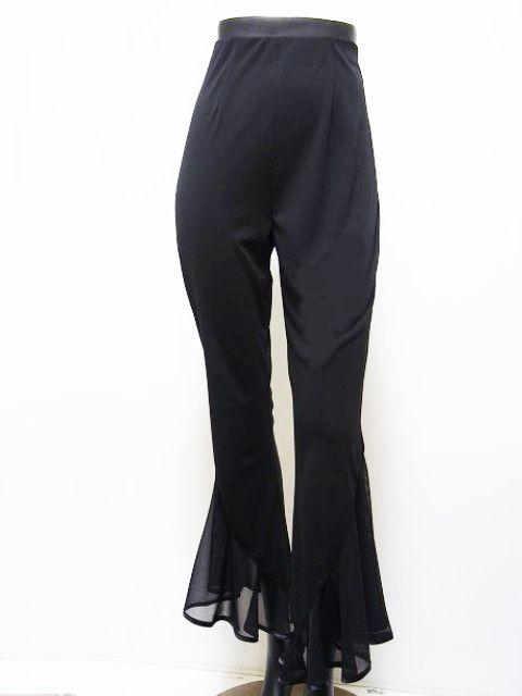 【新入荷】 ストレッチ パンツ (M・L) No.3539 パピヨン 社交ダンス 衣装 レディース 裾フリル ブラック  レッスン パーティー向け 衣装 黒