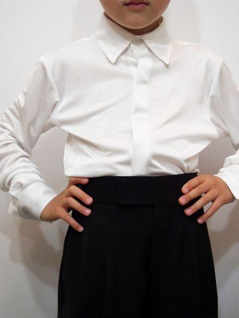 ストレッチ シャツ No.4605 東京トリキン 社交ダンス 衣装 競技 デモ 男子 ジュブナイル レオタード タイプ  白