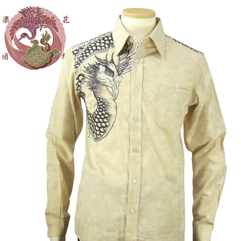 【SCRIPT花旅楽団(スクリプト)】 SLS-502 鳳凰柄刺繍 柄織長袖シャツ 和柄