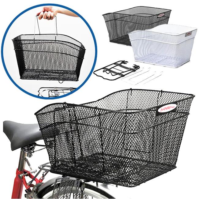 キャッシュレス5%還元自転車 後ろカゴ メッシュワンタッチ後カゴ RB-20 鉄製(黒、グレー)買い物かごになる ワンタッチで着脱可能 後ろかご 大きいサイズ(大型)のうしろ自転車かご リアバスケット(後かご 自転車カゴ うしろカゴ)
