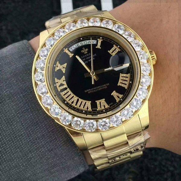 腕時計 LGXIGE 高級 ベゼルダイヤ デイデイト ハイエンドオマージュ ステンレスサファイアクリスタル クォーツ