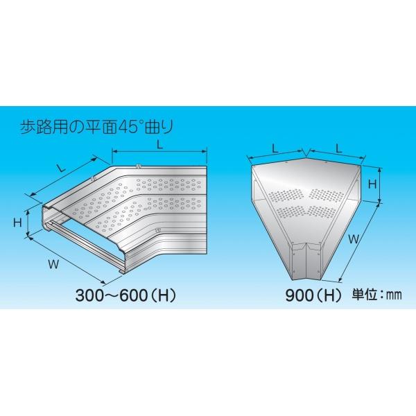 因幡電機産業 平面コーナー45° 5%OFF 歩路用 材質:高耐食鋼板 商舗 幅 W :600 高さ :134 L RFW-600-D-ZA H mm :456 コードNo.:88453