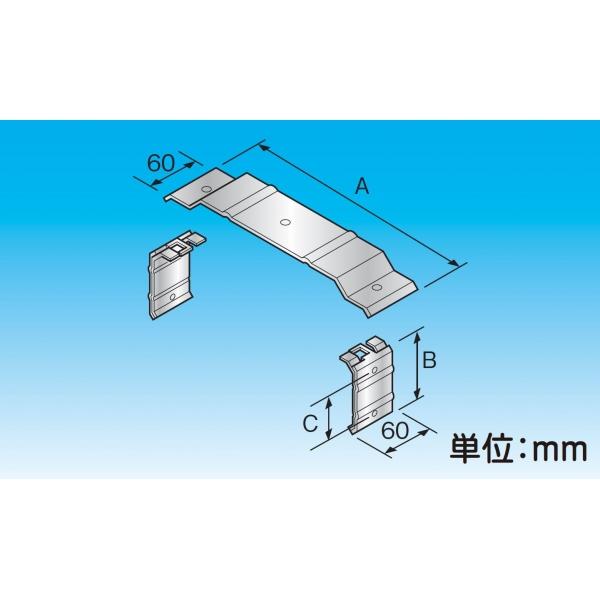 ダクト切断部などでの接続用(縦引きは壁面直付のみ可) RFJ-600H-A-SUS 材質:ステンレス、A(mm):595、B(mm):225、C(mm):140