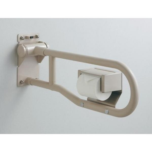 パブリック用手すり樹脂被覆タイプ(φ34) 腰掛便器用手すり(可動式)CAD 3D-C はね上げタイプ(紙巻器付き) T112HP8#SY L(mm):800