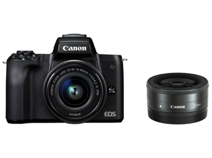 [新品] CANON キャノン EOS Kiss M ダブルレンズキット [ブラック] 4549292109214 ミラーレス一眼レフカメラ