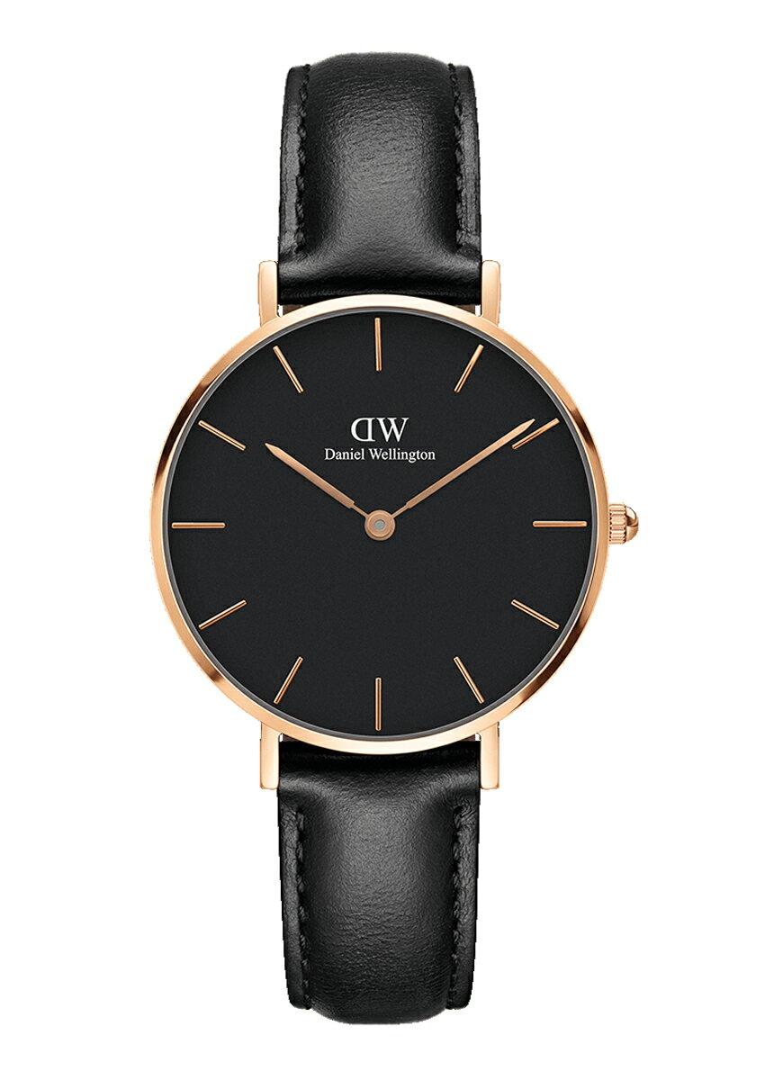 【公式2年保証/】ダニエルウェリントン公式 レディース 腕時計 Classic Petite Sheffield Black 32mm 革 ベルト クラシック ぺティート シェフィールド ブラック DW プレゼント おしゃれ インスタ映え
