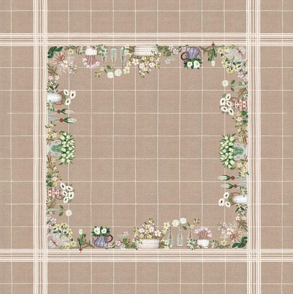 お花のテーブルクロス ホワイト